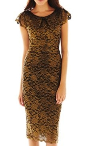 This luxurious looking gold lace dress from JCPenney was actually quite a bit more pretty in the store than it shows in this photo, IMHO. It's one of the few longer dresses this season, too, for those who prefer that look.