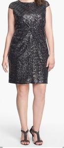 Nordstrom has some of the hottest dresses in plus sizes. This well reviewed sequin dress is $168. I love the not quite black color - universally flattering.